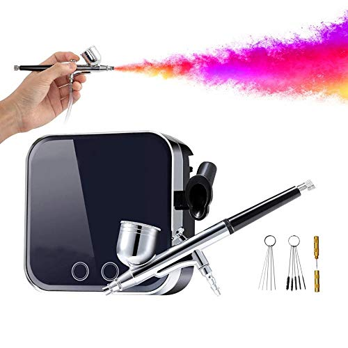 Fantexy Multi-Purpose Airbrush kit with Compressor, Portable Mini Air Compressor Gravity Feed Airbrush Set for Makeup,Cake Decorating, Nail Art,Painting, Tattoo, DIY Modeling with Cleaning Set