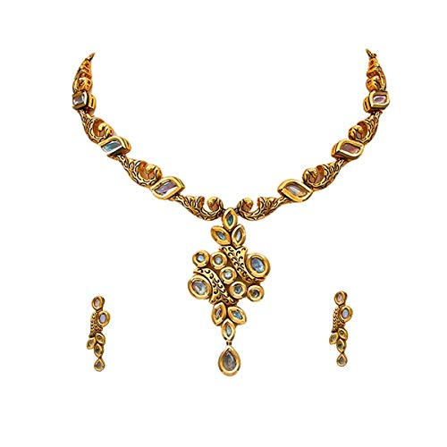 JewelryGift Gorgeous Necklace Earrings Set Gold Plated Kundan Stone Studded Handcrafted Fashion Jewellery for Women and Girls
