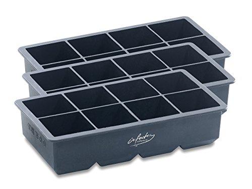 infactory Eiswürfelform groß: XXXL-Eiswürfelform für 8 Eiswürfel, 5x5x5cm, 3er-Set je 1 Liter (Eiswürfelform XXL)