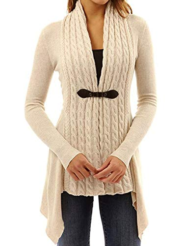 Landove Maglione Donna Manica Lunga Moda Mantelle Giacca Cappotto Cardigan Irregolare Scollo V Maglioni di Maglia Maglieria Knitted Pullover Tops Eleg