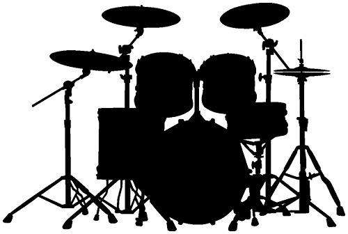 Samunshi® Wandtattoo Schlagzeug Wandaufkleber Trommel in 8 Größen und 19 Farben (75x50cm schwarz)