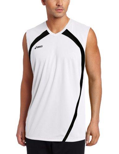 ASICS Performance Tyson - Camiseta sin Mangas para Hombre, Color Blanco y Negro, Talla M