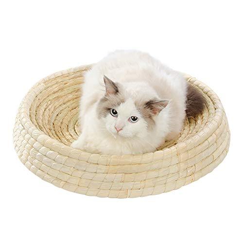 Rieten Huisdier Bed, Ronde Kattenkrabber Handgemaakte Rotan Moderne Kattenmeubels Nest Vier Seizoenen Universele Fauteuil-Binnen/Buiten,S