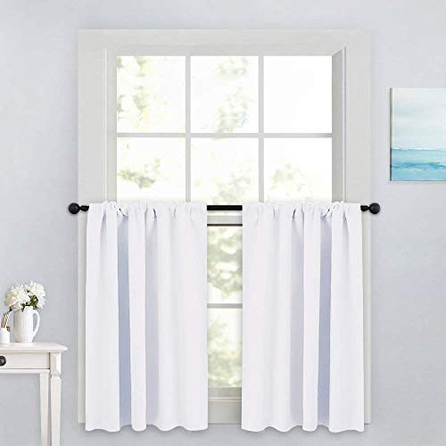PONY DANCE Window Curtain Valances - Rod Pocket Drapes Set Thermal Insulated Curtain Panels Noise Reducing Window Treatment for Kitchen, 42 W x 36 L inch, Pure White, 2 PCs