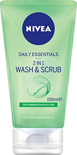 NIVEA Daily Essentials 2 in 1 Face Wash & Scrub with Cleansing Ocean Algae & Hydra IQ For Combination & Oily Skin, 150ml