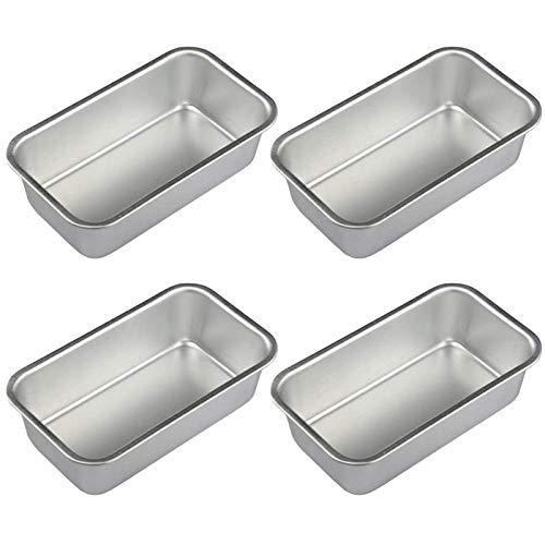 Jaimenalin 4 Piezas Molde de Pan Antiadherente Rectangular de Lata de Pan de AleacióN de Aluminio Moldes para Pan Pan Herramientas para Hornear Suministros de Barra de Comedor de Cocina