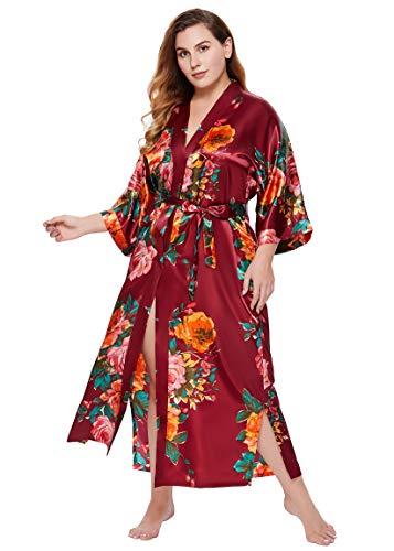 BABEYOND Damen Morgenmantel Große Größen Sommer Bademantel Kimono Lang Robe Blumen Muster Leicht Strandkleid Damen Satin Schlafmantel (Weinrot)