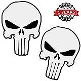 SkinoEu® 2 Stück Vinyl Aufkleber Autoaufkleber Punisher Skull Schädel Totenkopf Weiß Knochen...