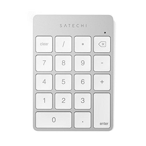 SATECHI Pavé Numérique Fin sans Fil Bluetooth 18 Touches pour Entrée de Données Excel - Compatible avec iMac, 2019 iMac Pro, MacBook Pro 2020, MacBook Air 2020, iPad, iPhone (Argent)