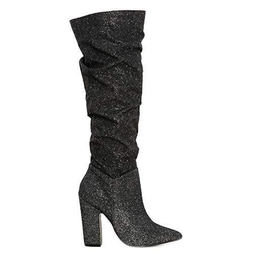 Toocool – Botas de mujer curvadas Lurex Glitter Tacón cómodo Zapatos de punta S1640 Negro Size: 36 EU