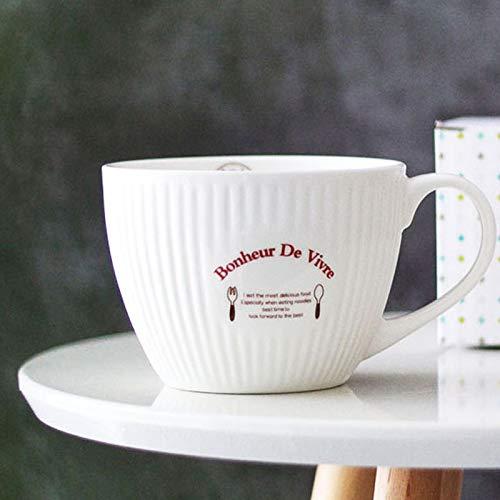 ZHDWM Franse Vintage Breakfast Cup Mok Keramische Beker Grote Capaciteit Yoghurt Haver Queen cup