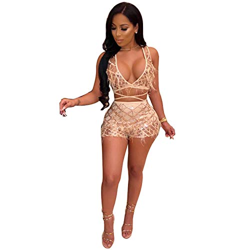 Womens Sparkle 2 Piece Outfits - Sexy Deep V Neck Bandage Jumpsuit Party Clubwear