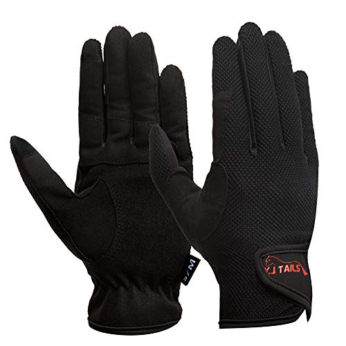 Y.J TAILS Womens Horse Riding Gloves Equestrian Women Ladies Girls (Large/XLarge Touchscreen)