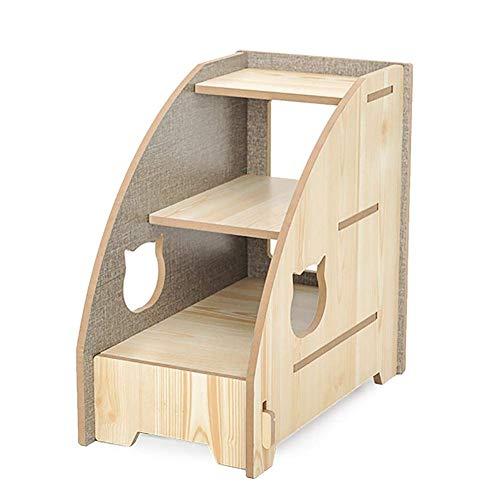 JXQ Haustiertreppe mit 3 Stufen für Katzen, Holzleiter bis zu 7,3 kg, tragbares Klettergerüst / Spielzeug, 41 × 24 × 39 cm