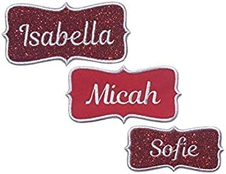 Custom Personalized Embroidered Iron On Name Patch Tag-Sparkling Red Glitter Or Red Fabric- For Christmas Stockings And Holiday Items (1 Patch)