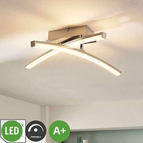 Lampenwelt LED Deckenleuchte 'Laurenzia' dimmbar (Modern) in Alu aus Metall u.a. für Wohnzimmer & Esszimmer (2 flammig, A+, inkl. Leuchtmittel) - Lampe, LED-Deckenlampe, Deckenlampe, Wohnzimmerlampe