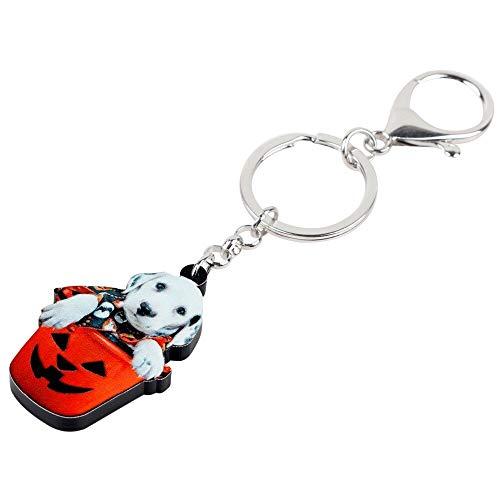 MEIHEK Acryl Halloween Süße Labrador Hund Schlüsselanhänger Schlüsselbund Kostüme Schmuck Für Frauen Mädchen Pet Lovers Bag Auto Charms Bijoux