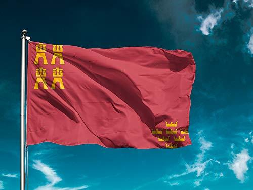 G1 | Bandera Murcia | Medidas 150cm x 85cm | Fácil colocación | Decoración Exteriores (1 Unidad)