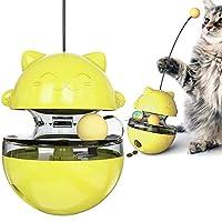 LAOSHIZI 猫ボール おやつボール タンブラー ク漏れ食品ボール 餌入れ食器 知育玩具 イエロー