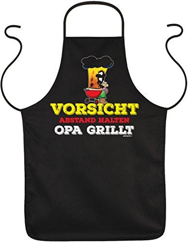 Infinite Outfits Schürze zum Grillen - Vorsicht Abstand halten Opa grillt - witzige Geschenk-Idee für Griller im Set mit lustiger Urkunde