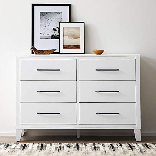 Everlane Home Daley Six Drawer Modern Design-Easy Assembly Dresser, White