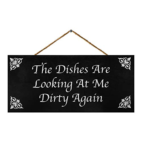 JennyGems The Dishes are Looking at Me Dirty Again | Funny Kitchen Signs | Farmhouse Kitchen Decor | Genuine Wood Sign | Made in USA