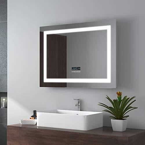 EMKE 80x60cm LED Badspiegel Mit Beleuchtung Wandspiegel Badezimmerspiegel mit Bluetooth 4.1 Lautsprecher, Touchschalter, Beschlagfrei, Uhr