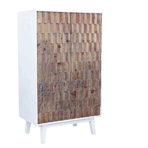 Milani Home s.r.l.s. Armadio a Due Ante con Decoro in Legno di Design Moderno per Salotto Cucina Sala da Pranzo cm 90 x 50 x 150 h