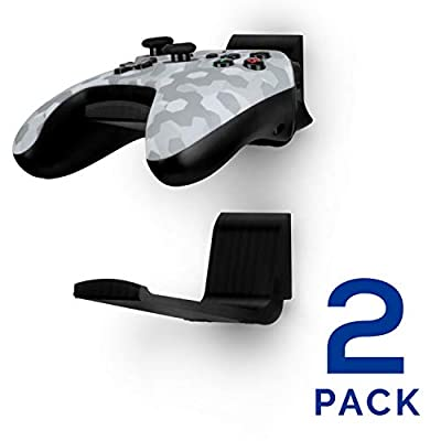 Game Controller Bed Wall Mount Stand Holder (2 Pack) for XBOX ONE SWITCH PS4 PS5 STEAM PC NINTENDO, Universal Gamepad Accessories - No screws, Stick on, Black By Brainwavz (UGC-X)