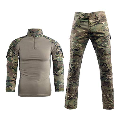 Men Combat T Shirt and Pant Set 1/4 Zip Camo