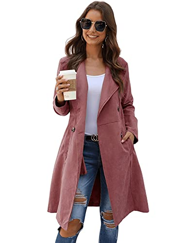 DIDK Abrigo de mujer de dos vueltas, impermeable, chaqueta fina, chaqueta de entretiempo, abrigo ligero, largo hasta la rodilla, Gris-Rosa, XS