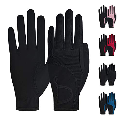 ChinFun Kids Horse Riding Gloves, Children Equestrian Gloves Premium Color-Contrasted, Summer Winter Boys Girls Youth Biking Skiing Gardening Black Size L 10-12