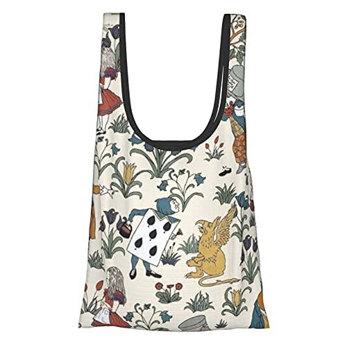 不思議の国のアリス (1) 多機能男女兼用 買い物袋エコバッグ 折りたたみ特大エコバック 肩から提げれる コンビニバッグ 折りたたみ買い物袋 防水素材 ショッピングバッグ 繰り返し洗える大容量 環境にやさしい