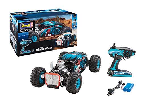Revell Control 24446 RC Hot Rod Muscle Car Racer, 2.4 GHz, 4WD Allradantrieb, bis zu 20 km/h, Akku, spritzwassergeschützt, 39,5 cm ferngesteuertes Auto, blau