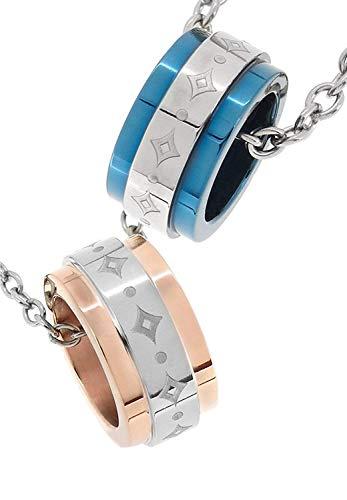 [フェフェ]fe-fe×phiten [特 別 仕 様] ファイテン リング ダイヤ柄 チタン スポーツ ペアネックレス ブルー ピンク カップル シンプル
