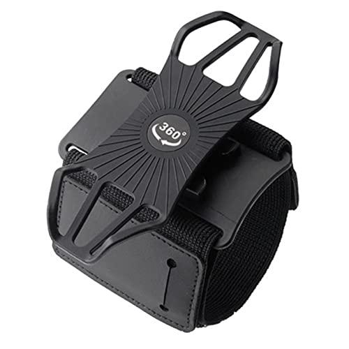 MOVKZACV Soporte para teléfono para correr, brazalete deportivo, giratorio de 360°, brazalete de correr, desmontable, para correr, caminar, ciclismo, ejercicio (negro)