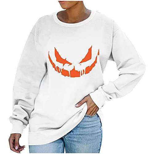 Blusenkleid Damen Damenmode Casual Langarm Rundhals Halloween Ausdruck Print Pullover Tops Oberteile Blusen Shirts
