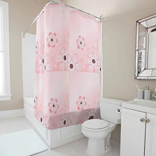 Zhiyue New polyester douchegordijn roze badgordijn lang aanhoudende warmte afwasbaar hangend gordijn voor kinderen gast Unischlaapzaal met haak White 150x200cm