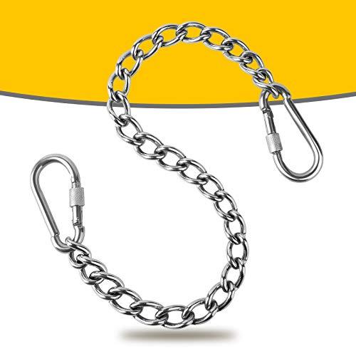 Poprkdre Cadena para sillón colgante de acero inoxidable 304, cadena de extensión de 66 cm, con dos mosquetones, carga hasta 250 kg