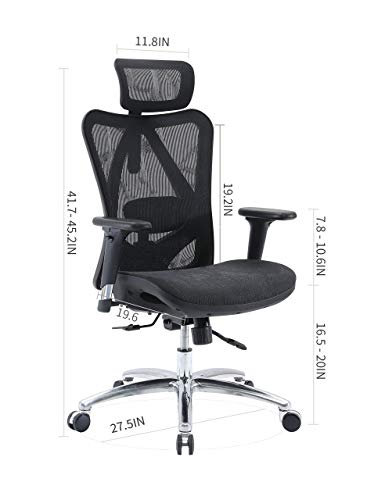 SIHOO Ergonomic Adjustable Office Chair with 3D Arm Rests and Lumbar Support - High Back with Breathable Mesh - Mesh Seat Cushion - Adjustable Head & Reclines(Black)