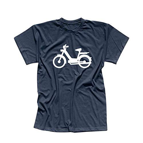 T-Shirt Mofa Herkules Simson Vespa Roller Motorroller 13 Farben Herren XS-5XL Töffli Scooter Moped Lambretta Mokick-Roller Cityflitzer, Größe:L, Farbe:Navy - Logo Weiss