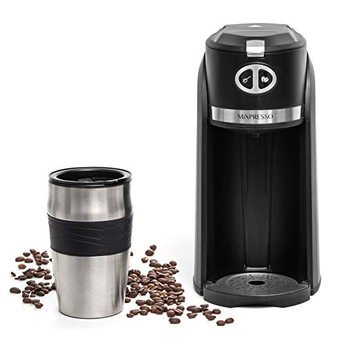 Mixpresso 2 in 1 Grind & Brew Automatic Personal Coffee Maker, Automatic Single Serve Coffee Maker with Grinder Built-In and 14oz Travel Mug, Auto Shut Off Function & Reusable Eco-Friendly Filter.