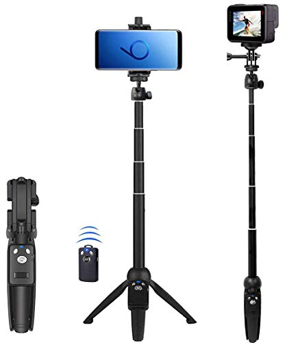 Selfie Stick, 40 inch Extendable Selfie Stick Tripod,Phone Tripod with Wireless Remote Shutter Compatible with iPhone 12 11 pro Xs Max Xr X 8Plus 7, Android, Samsung Galaxy S20 S10,Gopro and More