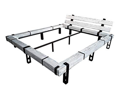 CHYRKA® Massivholzbett Balkenbett Bett Doppelbett Massivholz LEMBERG Loft Vintage Industrie Rustikal Design Handmade Holz Metall (Weiss, 180 x 200 cm)