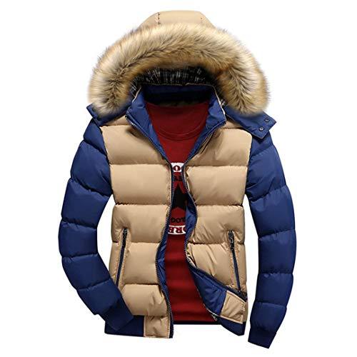 Cappotti Spessi da Uomo Invernali con Cappuccio in Piumino Parka Caldo Giacche Moda Uomo Soprabito Khaki Blue 5XL