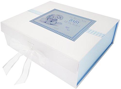 White Cotton Cards NBB2X Grande boîte à Souvenirs pour Nouveau-né-Lapin Bleu, Planche, Blanc, 27,2 x 32 x 11 cm