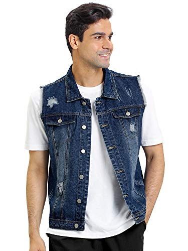 Lars Amadeus Men's Sleeveless Trucker Button Down Jean Denim Vest Jackets Medium Blue
