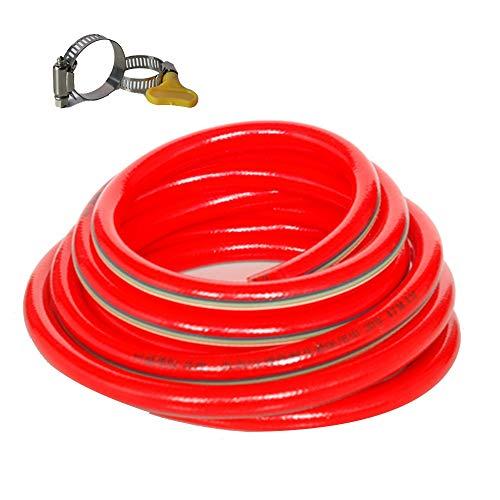 HAIYU- Flexibele PVC tuinslang, 5-laags structuur, slijtvast en anti-knik, 1/2 Inch en 3/4 Inch buisdiameter, multifunctionele thuiswaterslang, rood