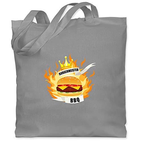 Shirtracer Grill - Burgermeister - Unisize - Hellgrau - Statement - WM101 - Stoffbeutel aus Baumwolle Jutebeutel lange Henkel