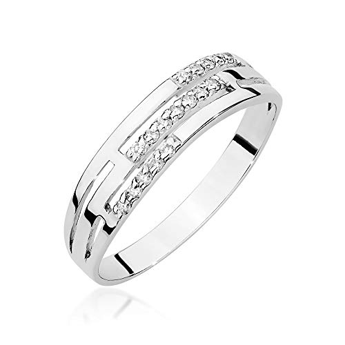 Anillo para mujer de oro blanco 585 de 14 quilates, diamantes naturales y brillantes